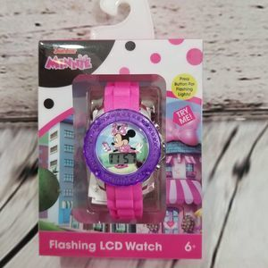 ⭐DISNEY watch MINNIE flashing LCD girls 6+ New